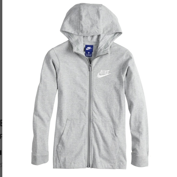 Nike Girls Hoodie Sweatshirt Size XL 14 16 Gray Blue